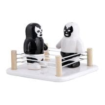 Luchador Salt Vs. Pepper Shakers