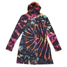 Black Tie-Dye Long Zip-Up Hoodie