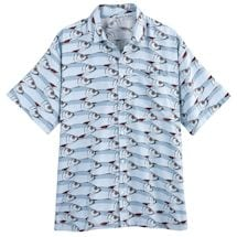 Fish Print Short Sleeve Button Down Camp Shirt Top