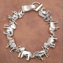 Women's Elephant Silver Plated Magnetic Charm Bracelet