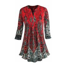 Pleated Red Paisley Tunic Top