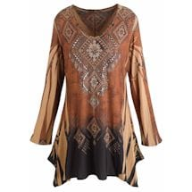 Mountain Spirit Women's Tunic Top with Vintage Pattern