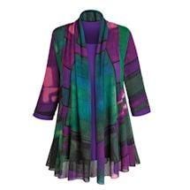 Purple Paradise Open Front Cardigan with Matching Tee