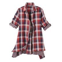 2-Sided Button Down Plaid Big Shirt-Long Sleeve