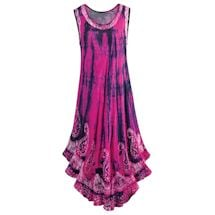 Hot Pink & Navy Blue Tie-Dye And Paisley Bali Maxi Sundress
