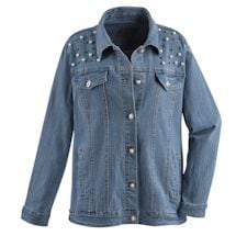 Oversize Denim Jacket With Pearls