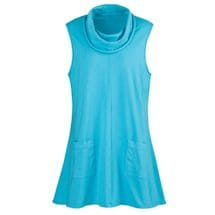 Patched Pockets Sleeveless Tunic