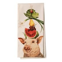 Country Critters In Hats Tea Towels - Pig