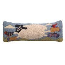 Sheep In Socks Hooked Wool Pillow