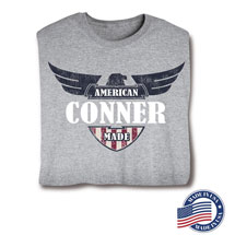 """Personalized """"Your Name"""" American Made Eagle Shirt (Grey) - Made In America"""