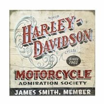 "Personalized Harley-Davidson® Motorcycle ""Admiration Society"" Wood Wall Art"
