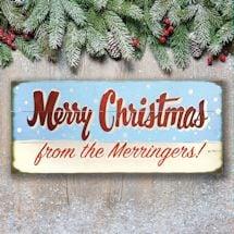 "Personalized ""Merry Christmas"" Snowfall Wood Wall Art"