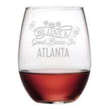 """Personalized """"We Love a Good Buzz"""" Stemless Wine Glasses - Set of 4"""