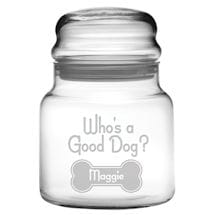 "Personalized ""Who's a Good Dog?"" Glass Treat Jar"
