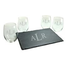 Personalized Monogram Stemless Wine Glasses and Slate Cheese Board Set - Block Font