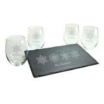 Personalized Snowflakes Stemless Wine Glasses and Slate Cheese Board Set