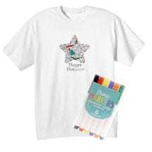 Children's Color Your Own Holiday Star T-Shirt & Markers Set