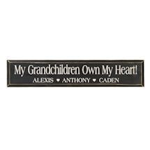 "Personalized ""My Grandchildren Own My Heart!"" Wood Wall Art"