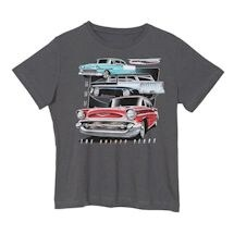 Tri-Five 55, 56, 57 Chevy Car T-Shirt - Short Sleeve - Charcoal Gray