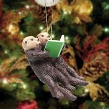 Reading Otters Christmas Ornament