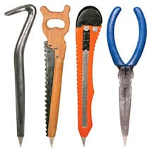 Hardware Pens Set of 4 with Crowbar, Saw, Mat Knife, Needle Nose Pliers