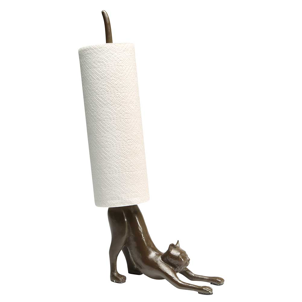 Exclusive Cast Iron Stretching Cat Yoga Paper Towel Holder Kitchen Decor