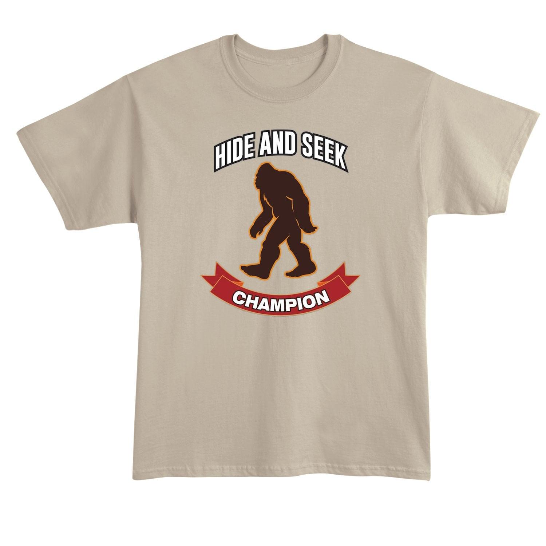 eee5b84cc What on Earth Men's Unisex Big Foot Hide & Seek Champion T-Shirt -Yeti  Sasquatch