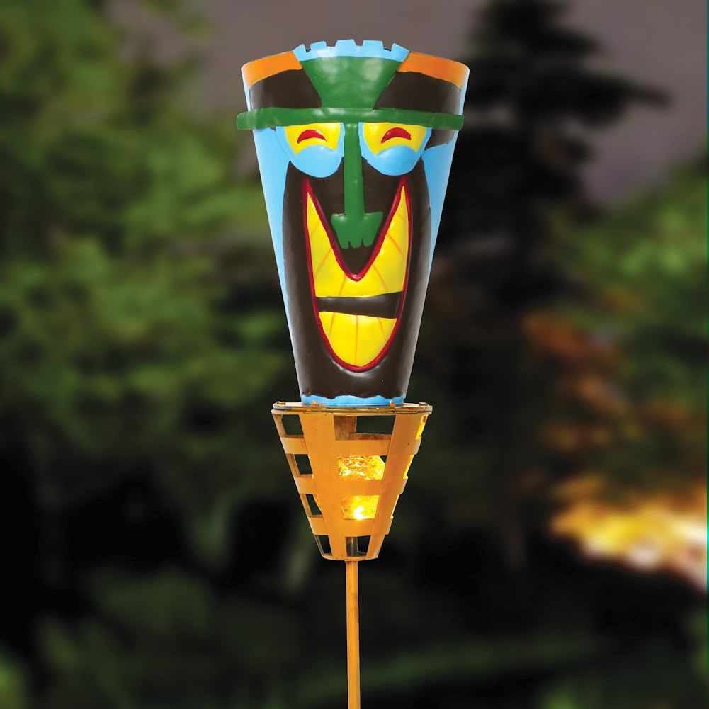 Outdoor Patio Torch Lights: Solar Powered LED Light -Metal Yard