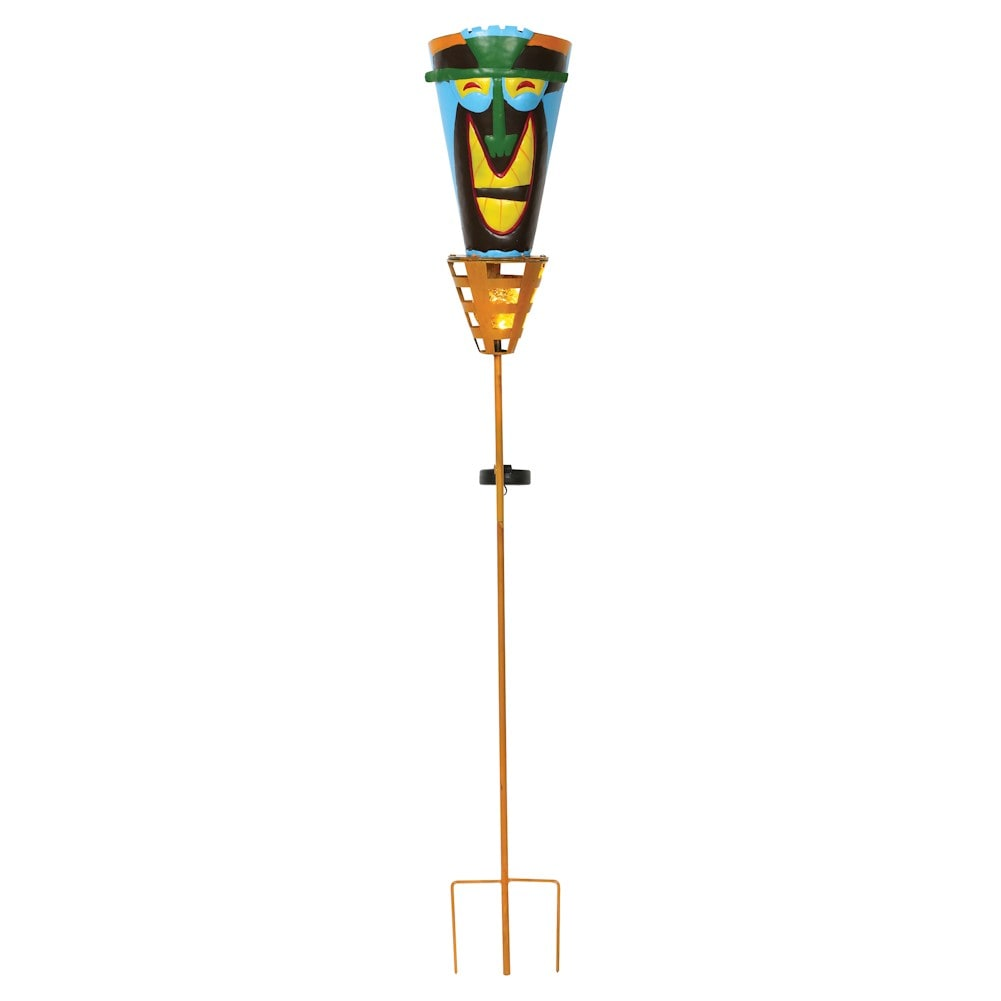 Outdoor tiki torches solar powered led light metal yard for Outdoor tiki torches