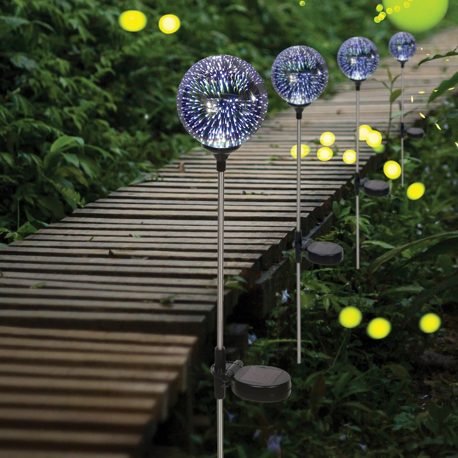 led lighted stargazing garden stake solar powered mercury glass globe 24 8733930274 ebay. Black Bedroom Furniture Sets. Home Design Ideas