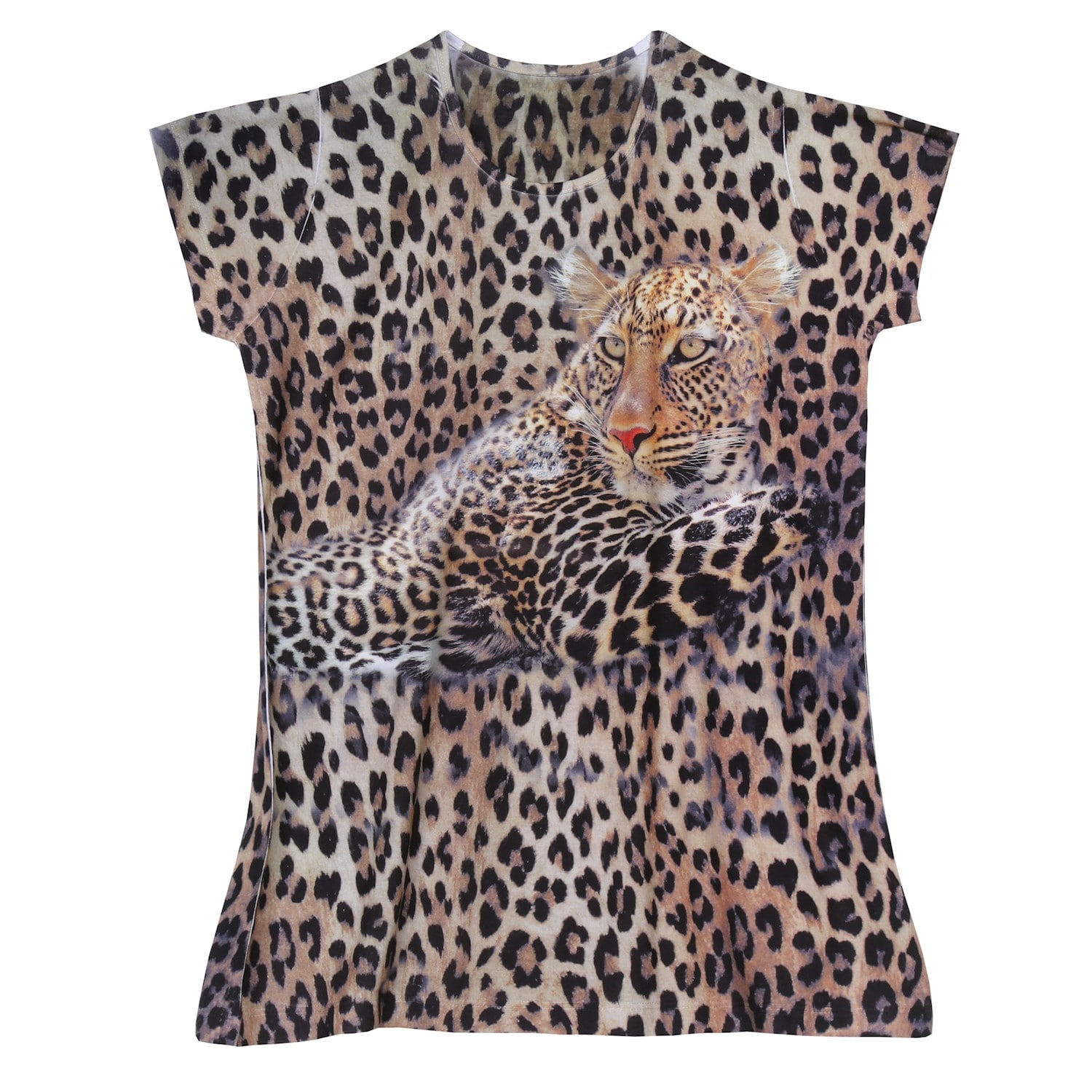 0006043beed3 Details about What On Earth Women's Leopard T-Shirt Top - Animal Print Tee  with Cap Sleeve