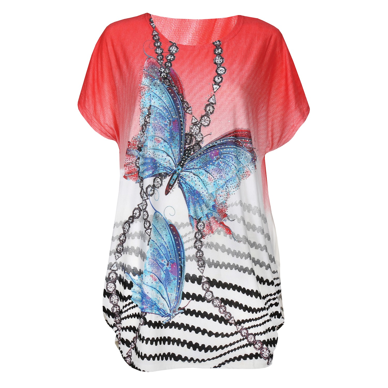 2364946d Details about Portman Studios Women's Sparkly Butterfly Print Top - Short  Sleeve Shirt, Red