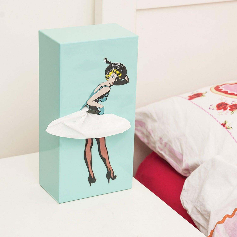 Vintage Lady with Flying Skirt Napkin Dispenser Pin Up Girl Tissue Box Cover