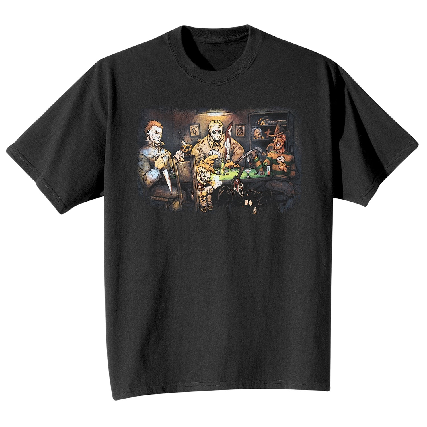 Details about Get Down Art Unisex Horror Movie Slashers Playing Poker  T-Shirt - Black Tee